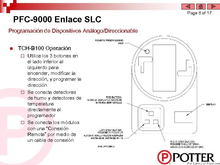 PFC-9000 Enlace SLC Programación de Dispositivos Análogo/Direccionable n TCH-B 100 Operación Utilice los 3