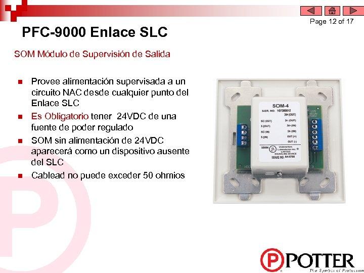 PFC-9000 Enlace SLC SOM Módulo de Supervisión de Salida n n Provee alimentación supervisada