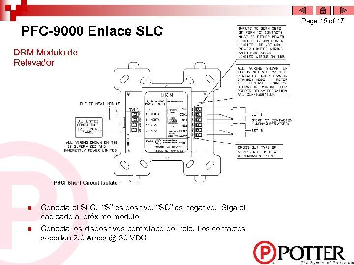 """PFC-9000 Enlace SLC DRM Modulo de Relevador n n Conecta el SLC. """"S"""" es"""