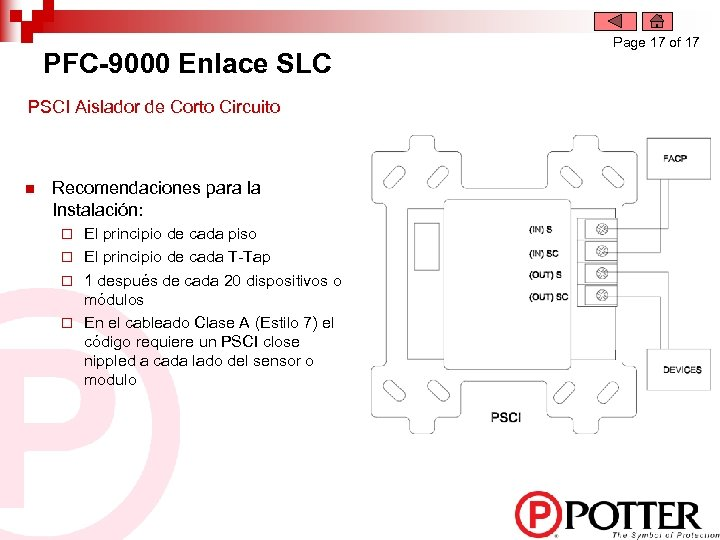 PFC-9000 Enlace SLC PSCI Aislador de Corto Circuito n Recomendaciones para la Instalación: El