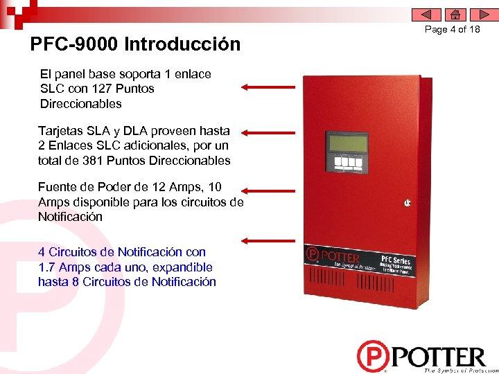PFC-9000 Introducción El panel base soporta 1 enlace SLC con 127 Puntos Direccionables Tarjetas