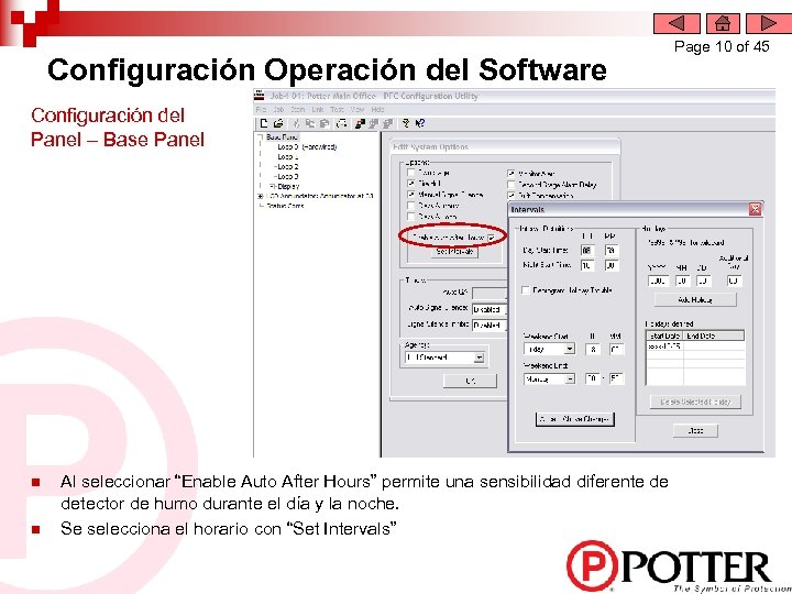 Configuración Operación del Software Configuración del Panel – Base Panel n n Al seleccionar
