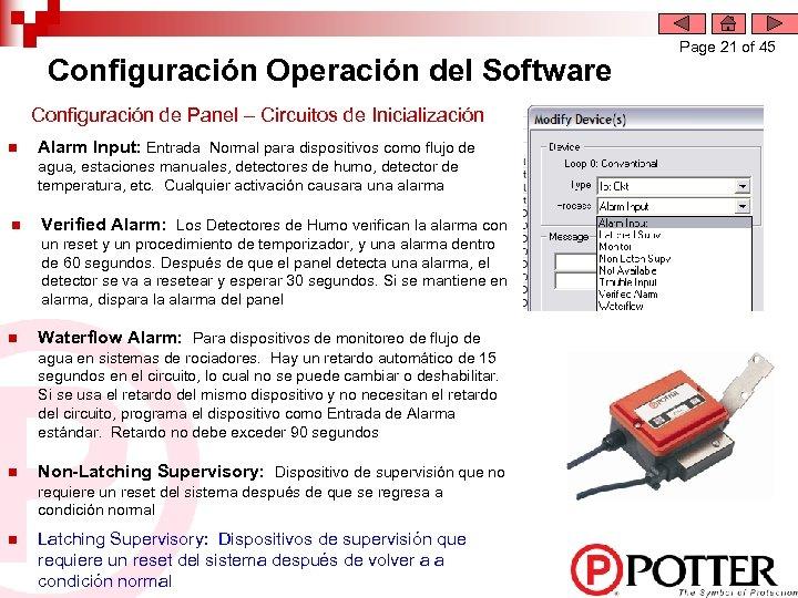 Configuración Operación del Software Configuración de Panel – Circuitos de Inicialización n Alarm Input:
