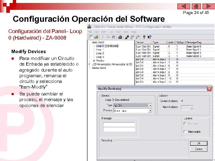 Configuración Operación del Software Configuración del Panel– Loop 0 (Hardwired) - ZA-9008 Modify Devices