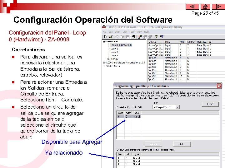 Configuración Operación del Software Configuración del Panel– Loop 0 (Hardwired) - ZA-9008 Correlaciones n
