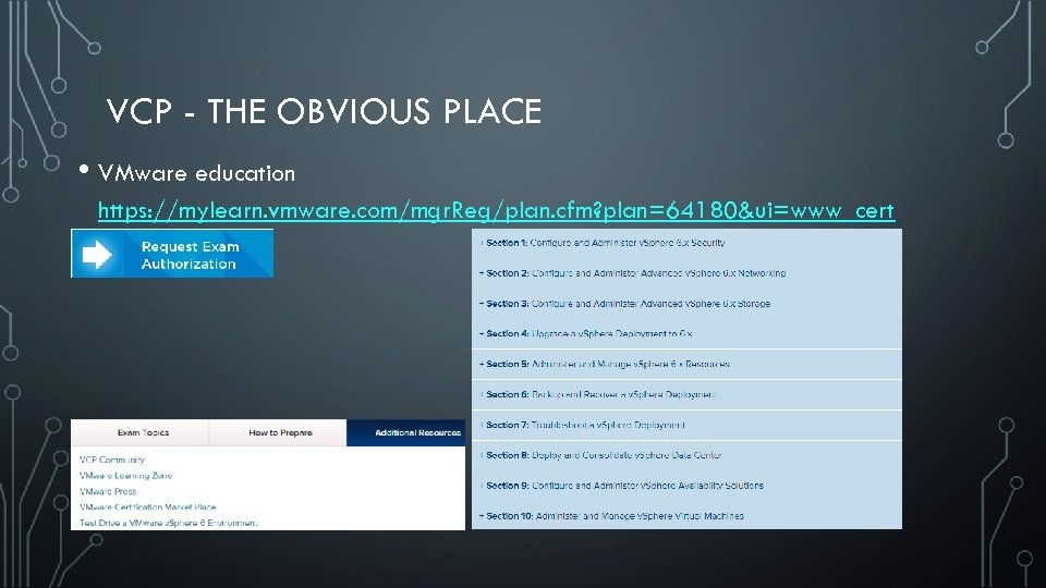 VCP - THE OBVIOUS PLACE • VMware education https: //mylearn. vmware. com/mgr. Reg/plan. cfm?