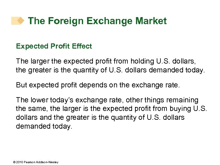 The Foreign Exchange Market Expected Profit Effect The larger the expected profit from holding