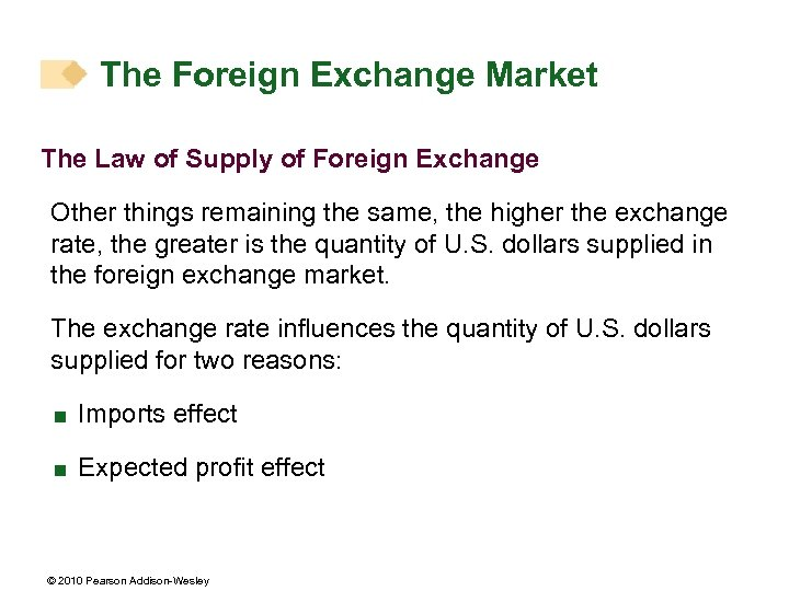 The Foreign Exchange Market The Law of Supply of Foreign Exchange Other things remaining