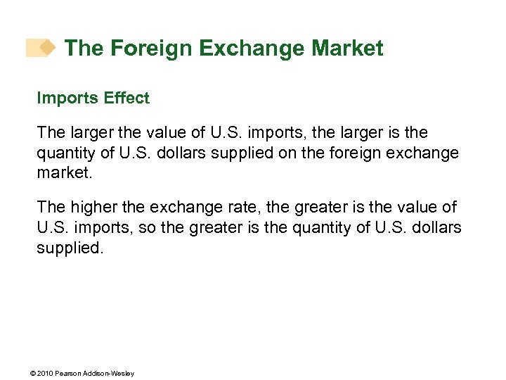 The Foreign Exchange Market Imports Effect The larger the value of U. S. imports,