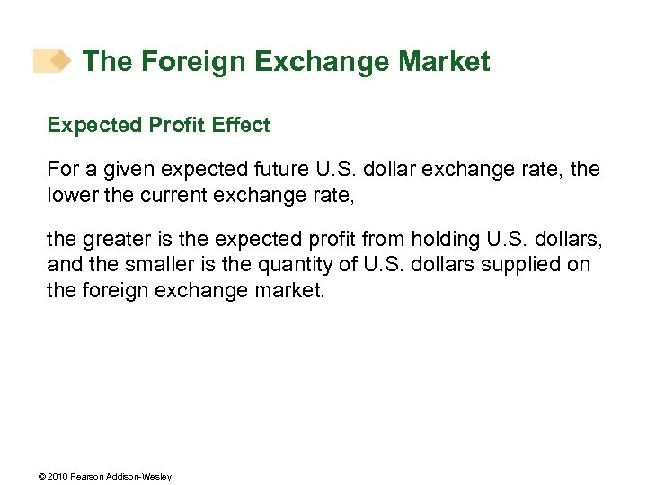 The Foreign Exchange Market Expected Profit Effect For a given expected future U. S.