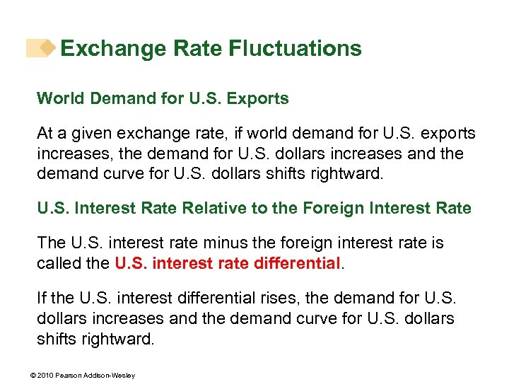 Exchange Rate Fluctuations World Demand for U. S. Exports At a given exchange rate,