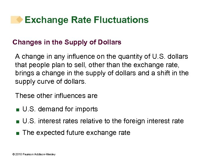 Exchange Rate Fluctuations Changes in the Supply of Dollars A change in any influence