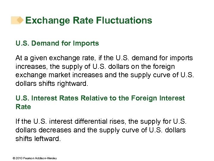 Exchange Rate Fluctuations U. S. Demand for Imports At a given exchange rate, if