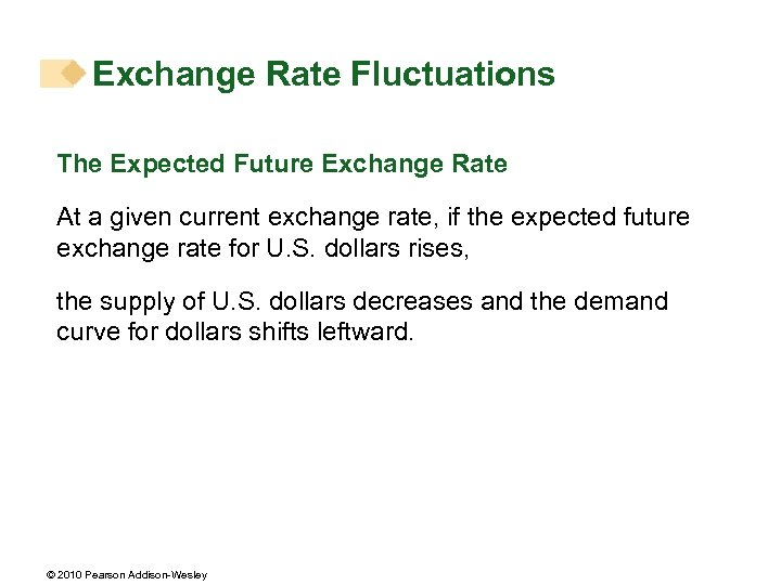 Exchange Rate Fluctuations The Expected Future Exchange Rate At a given current exchange rate,