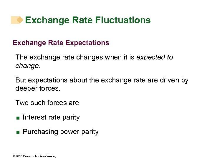 Exchange Rate Fluctuations Exchange Rate Expectations The exchange rate changes when it is expected