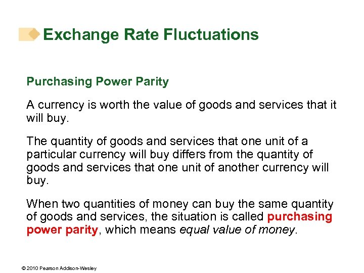 Exchange Rate Fluctuations Purchasing Power Parity A currency is worth the value of goods