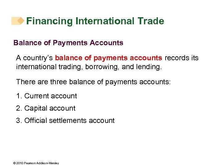 Financing International Trade Balance of Payments Accounts A country's balance of payments accounts records