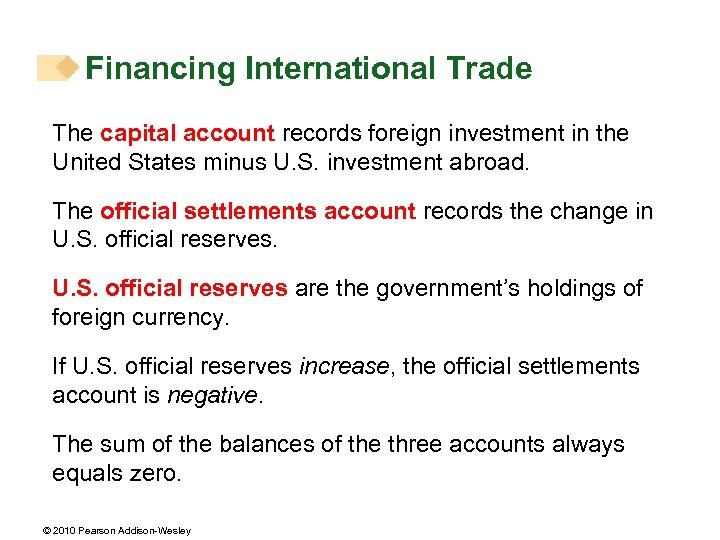 Financing International Trade The capital account records foreign investment in the United States minus