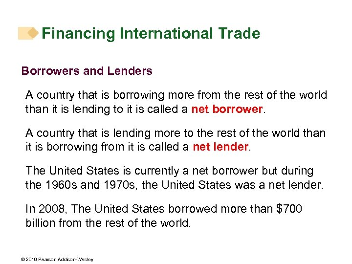 Financing International Trade Borrowers and Lenders A country that is borrowing more from the