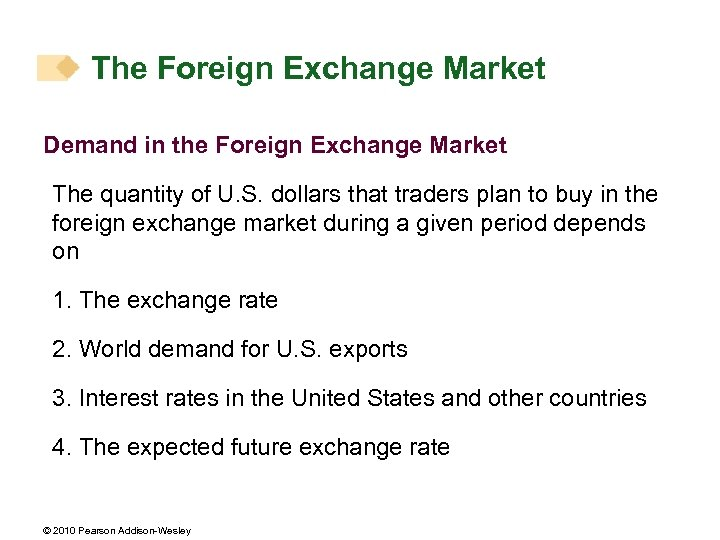 The Foreign Exchange Market Demand in the Foreign Exchange Market The quantity of U.