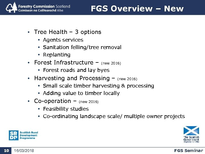 FGS Overview – New • Tree Health – 3 options • Agents services •