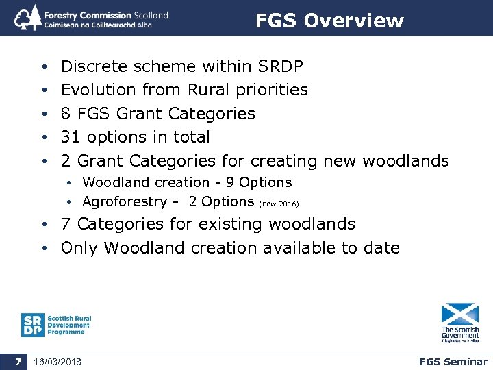 FGS Overview • • • Discrete scheme within SRDP Evolution from Rural priorities 8