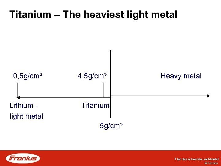 Titanium – The heaviest light metal 0, 5 g/cm³ Lithium light metal 4, 5