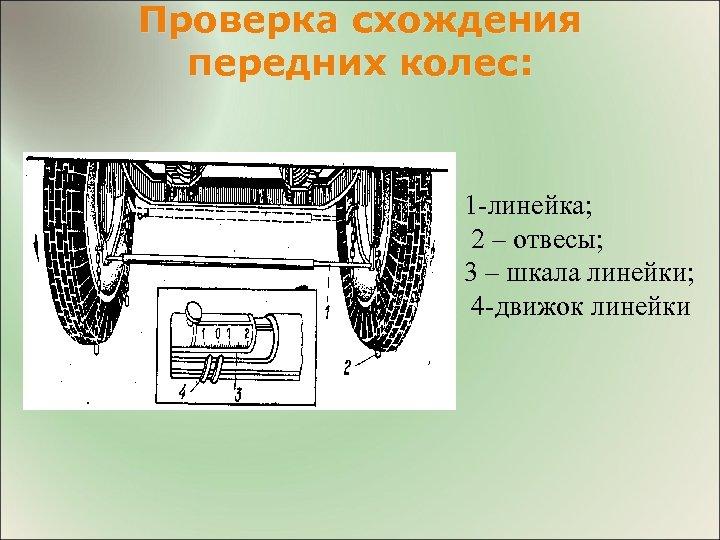 Проверка схождения передних колес: 1 -линейка; 2 – отвесы; 3 – шкала линейки; 4