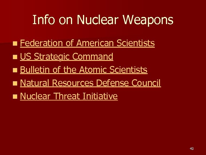 Info on Nuclear Weapons n Federation of American Scientists n US Strategic Command n