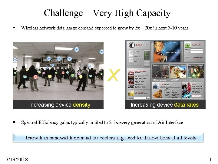 Challenge – Very High Capacity § Wireless network data usage demand expected to grow