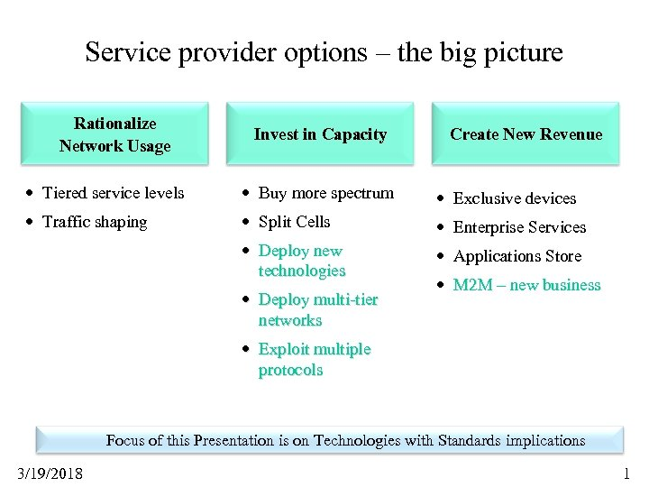 Service provider options – the big picture Rationalize Network Usage Invest in Capacity Create