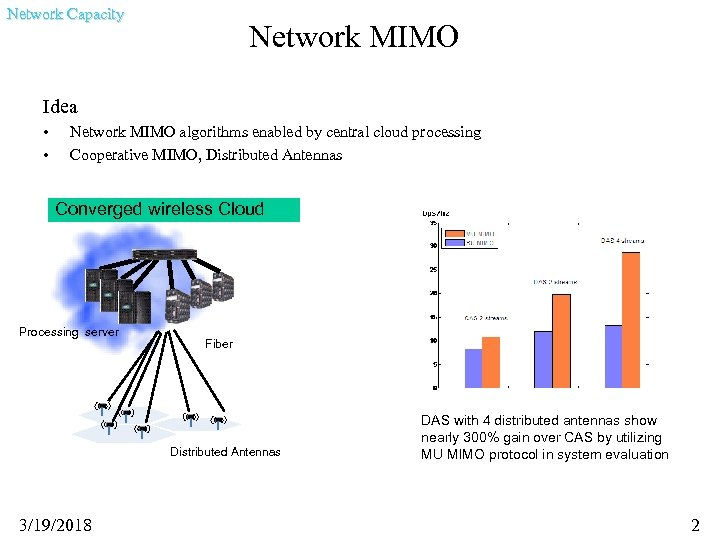 Network Capacity Network MIMO Idea • • Network MIMO algorithms enabled by central cloud