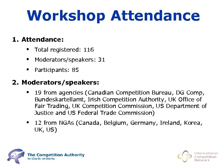 Workshop Attendance 1. Attendance: § Total registered: 116 § Moderators/speakers: 31 § Participants: 85