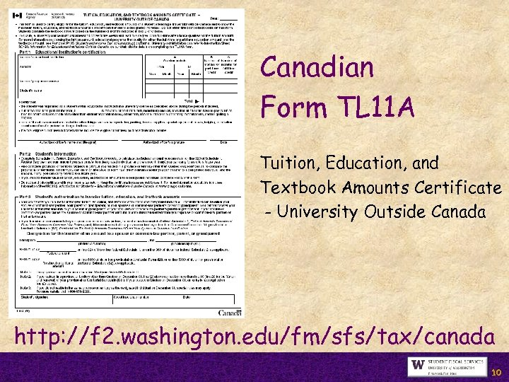 Canadian Form TL 11 A Tuition, Education, and Textbook Amounts Certificate - University Outside