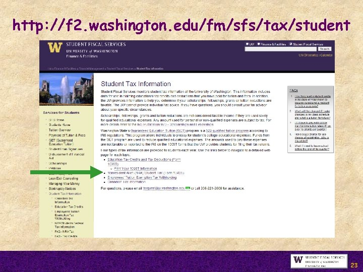 http: //f 2. washington. edu/fm/sfs/tax/student 23