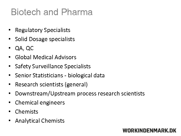 Biotech and Pharma • • • Regulatory Specialists Solid Dosage specialists QA, QC Global