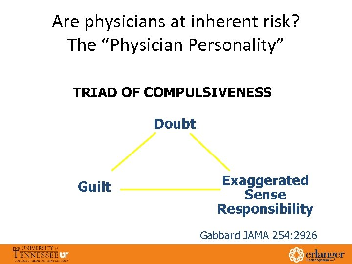 """Are physicians at inherent risk? The """"Physician Personality"""" TRIAD OF COMPULSIVENESS Doubt Guilt Exaggerated"""