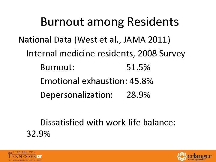 Burnout among Residents National Data (West et al. , JAMA 2011) Internal medicine residents,