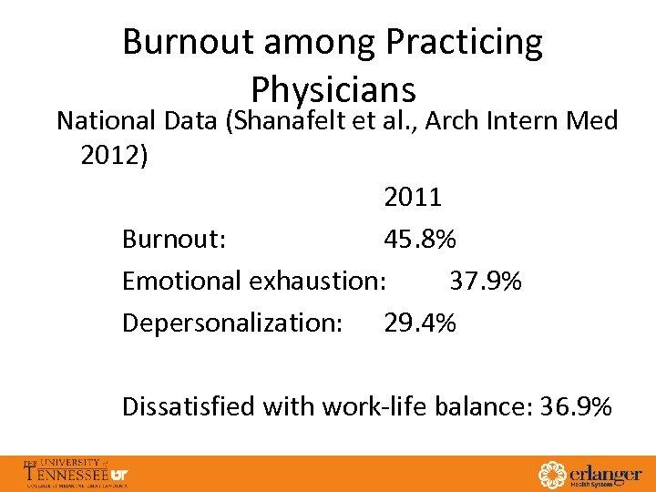 Burnout among Practicing Physicians National Data (Shanafelt et al. , Arch Intern Med 2012)