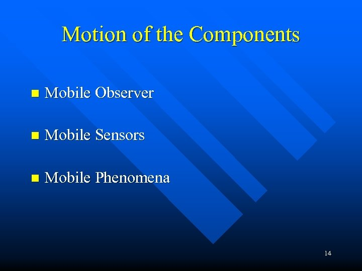 Motion of the Components n Mobile Observer n Mobile Sensors n Mobile Phenomena 14