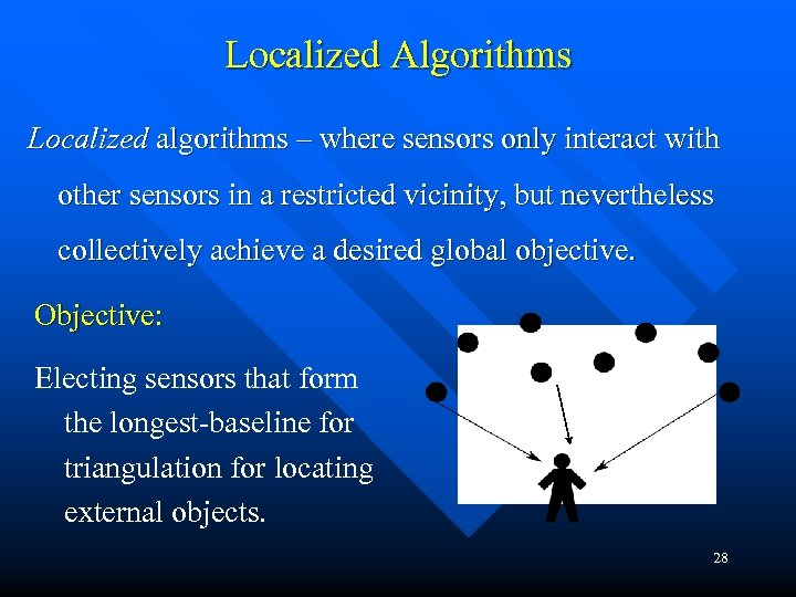 Localized Algorithms Localized algorithms – where sensors only interact with other sensors in a