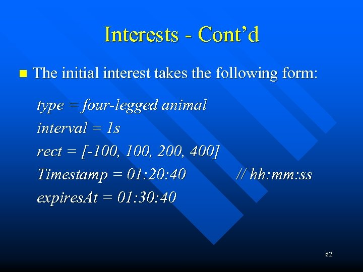 Interests - Cont'd n The initial interest takes the following form: type = four-legged