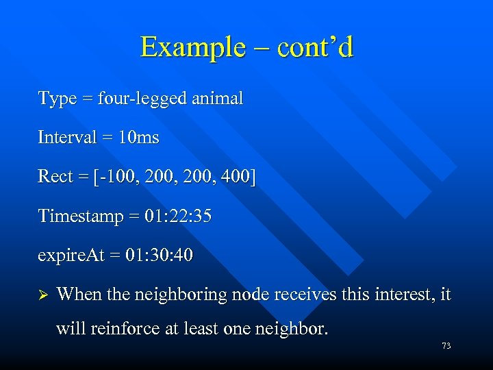 Example – cont'd Type = four-legged animal Interval = 10 ms Rect = [-100,