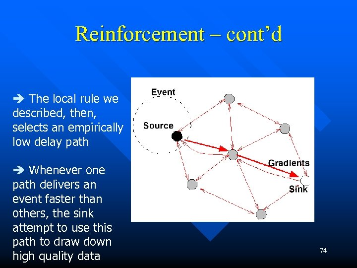 Reinforcement – cont'd The local rule we described, then, selects an empirically low delay