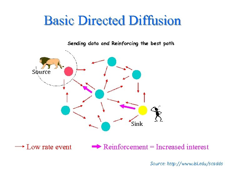 Basic Directed Diffusion Sending data and Reinforcing the best path Source Sink Low rate