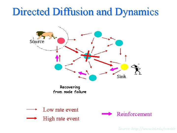 Directed Diffusion and Dynamics Source Sink Recovering from node failure Low rate event High