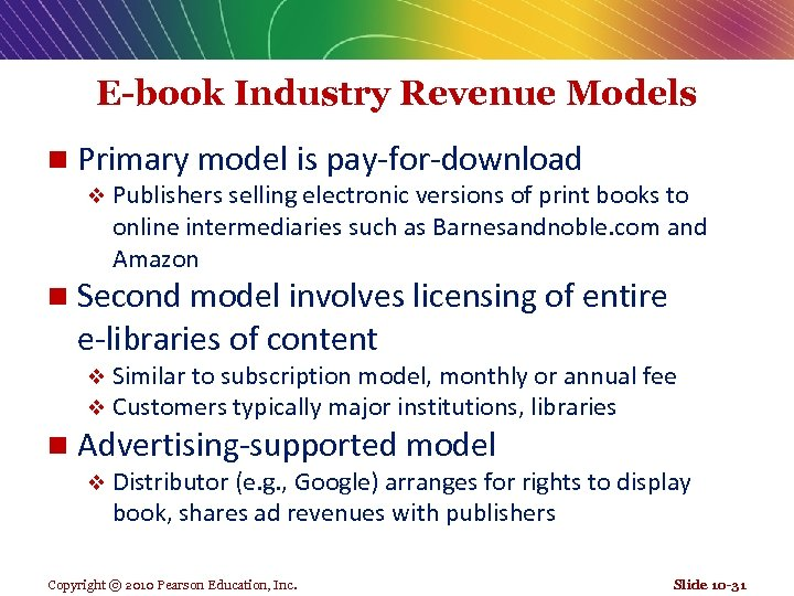 E-book Industry Revenue Models n Primary model is pay-for-download v Publishers selling electronic versions