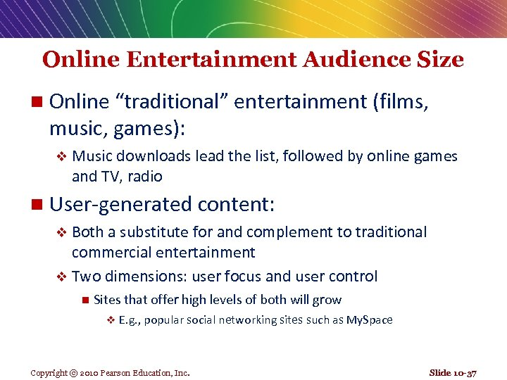 """Online Entertainment Audience Size n Online """"traditional"""" entertainment (films, music, games): v Music downloads"""