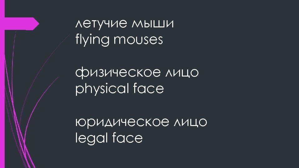 летучие мыши flying mouses физическое лицо physical face юридическое лицо legal face