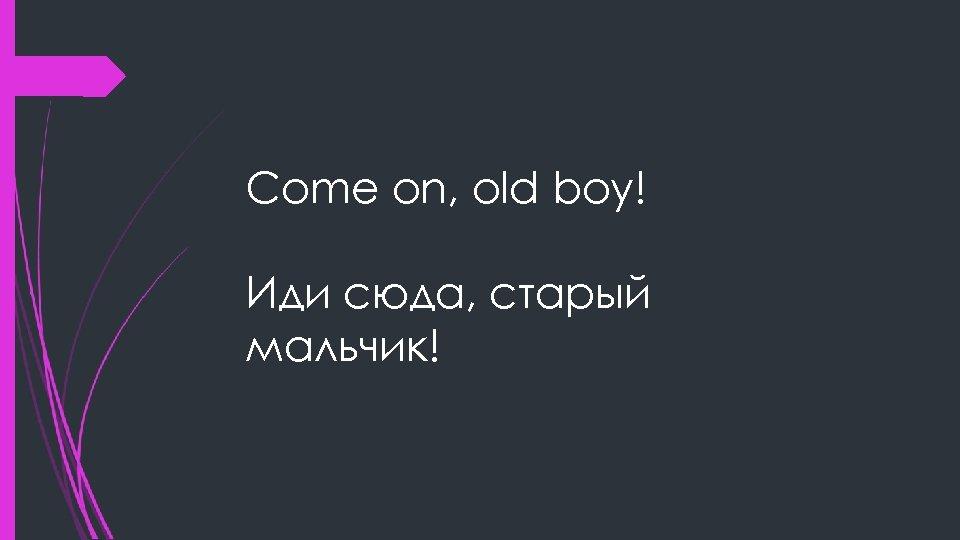 Come on, old boy! Иди сюда, старый мальчик!